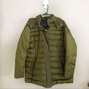 Lands End Olive Green Down Puffer Jacket Size XL